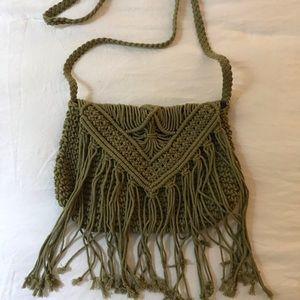 Olive green crochet fringe bag